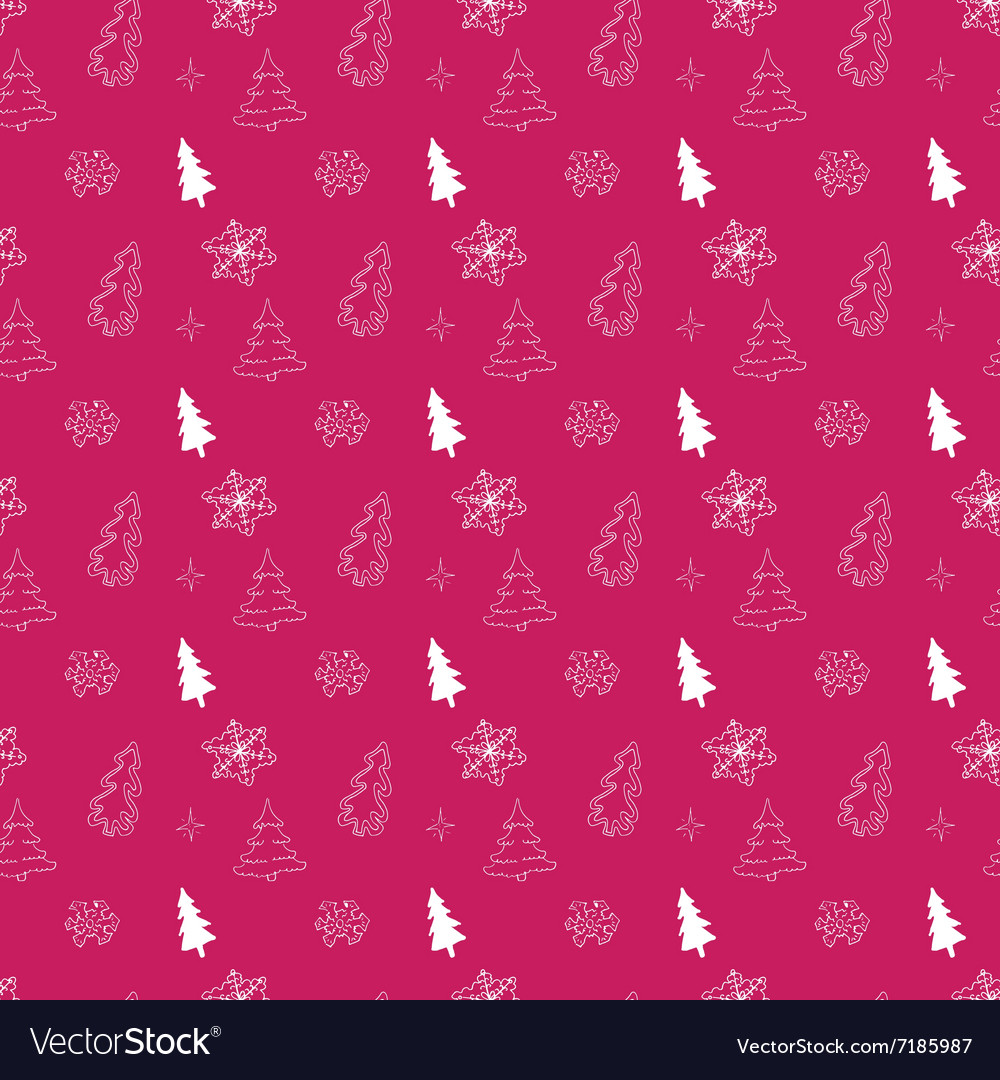 Christmas tree hand drawn doodle seamless pattern