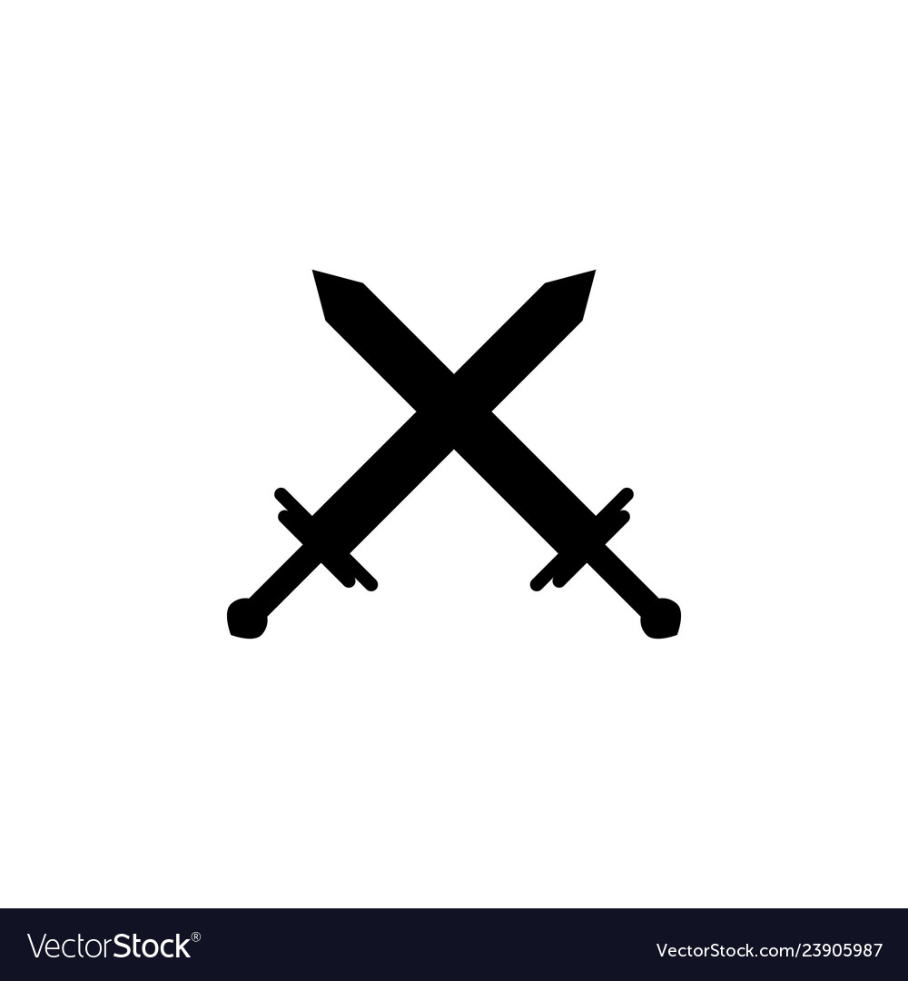 Crossed swords icon element of chess for mobile