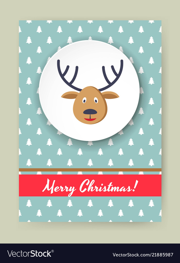 Cute merry christmas greeting card with dear