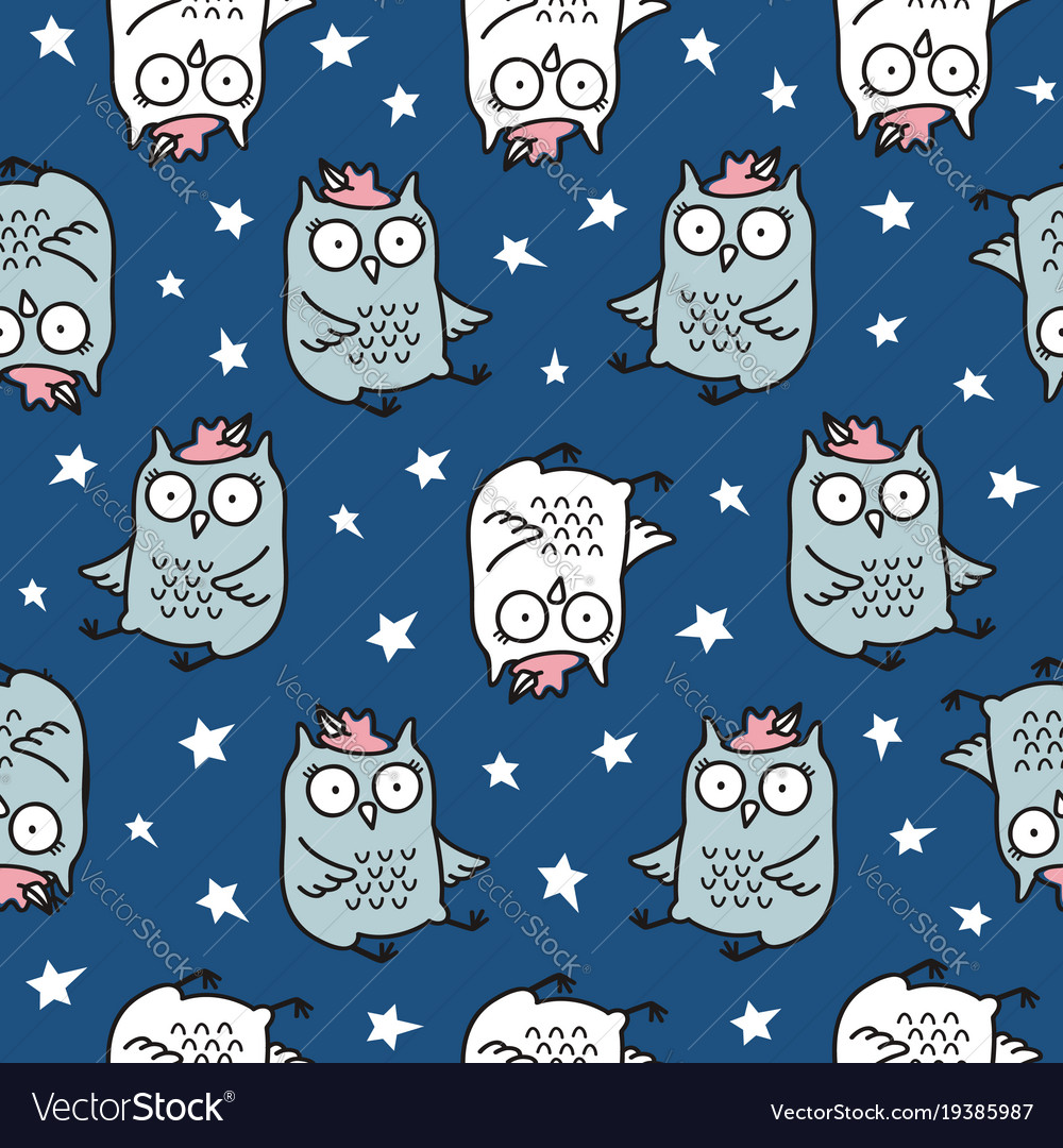 Cute seamless pattern with hand drawn owl
