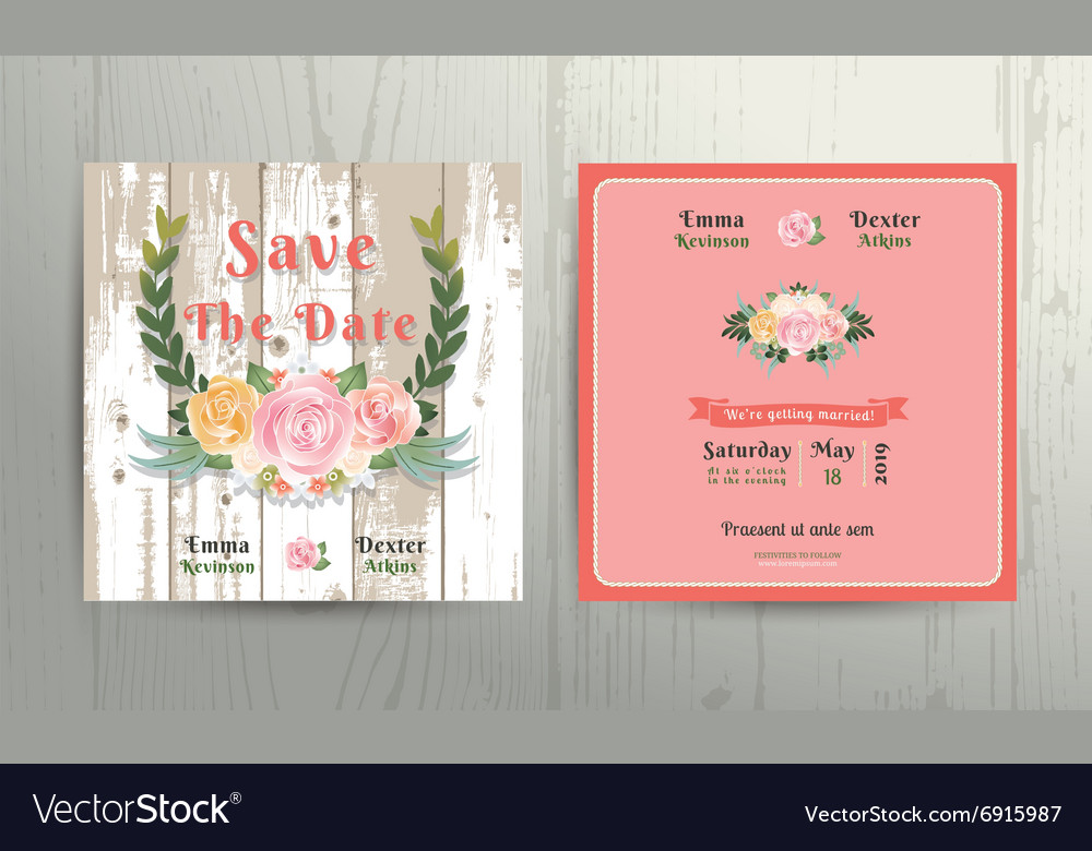 Floral roses wreath save the date wedding