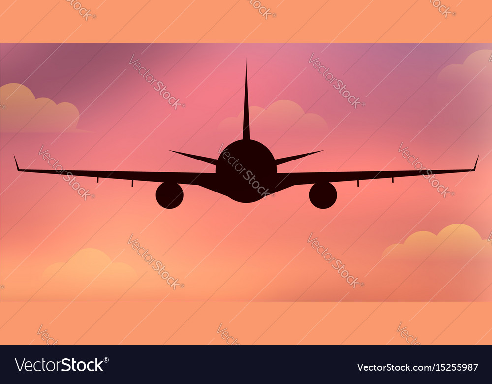 Flying silhouette of an airplane vector image