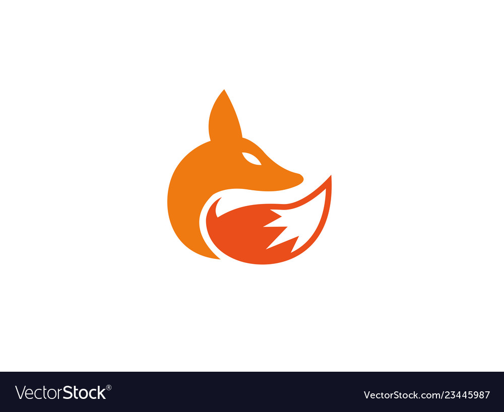 Fox Head And Tail Wolf Logo Royalty Free Vector Image