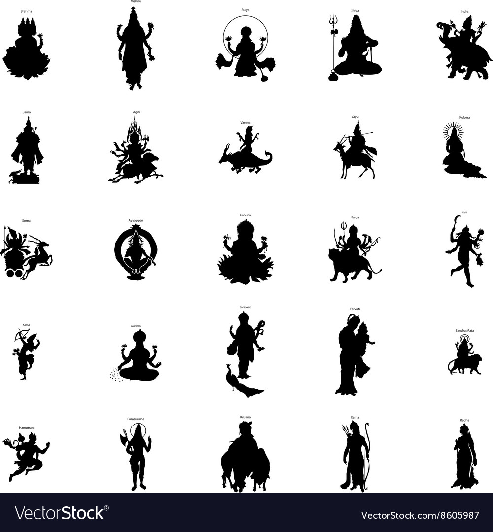 Indian gods silhouette set simple style
