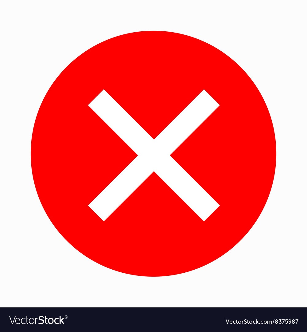 Red Cross Check Mark Icon Simple Style Royalty Free Vector