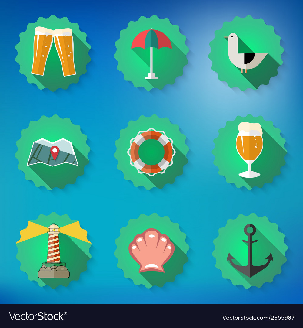 Summer Sea Travel Weekend Trip Flat icon set