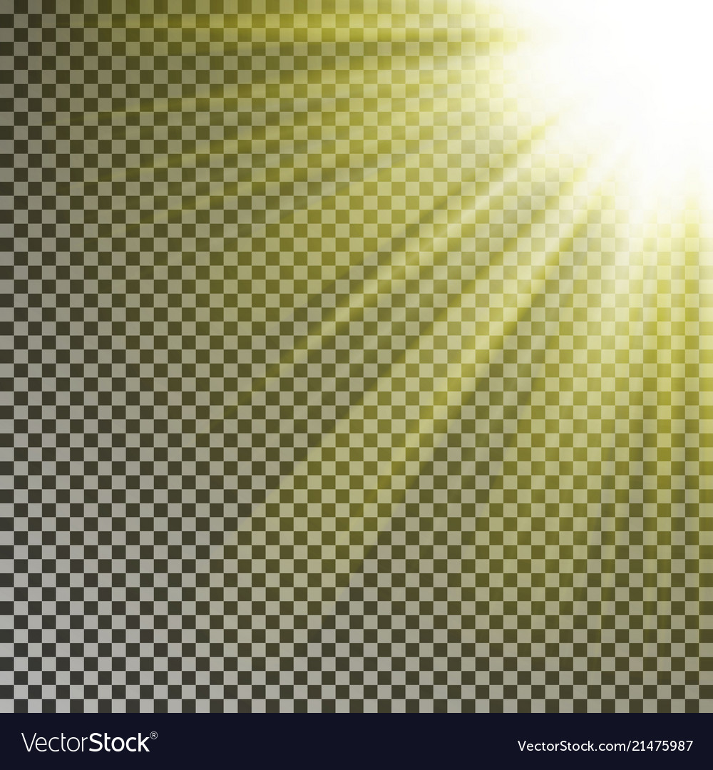 Sun Ray Light On Top Rigth Corner Transparent Glo Vector Image