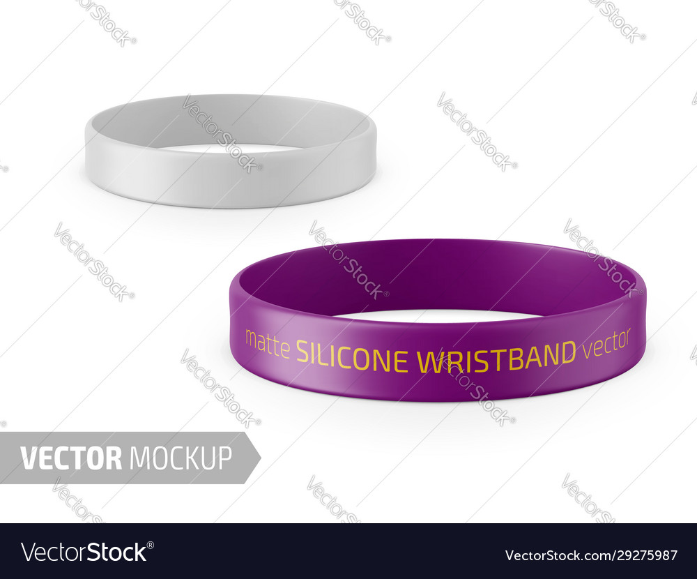 White matte silicone wristband mockup