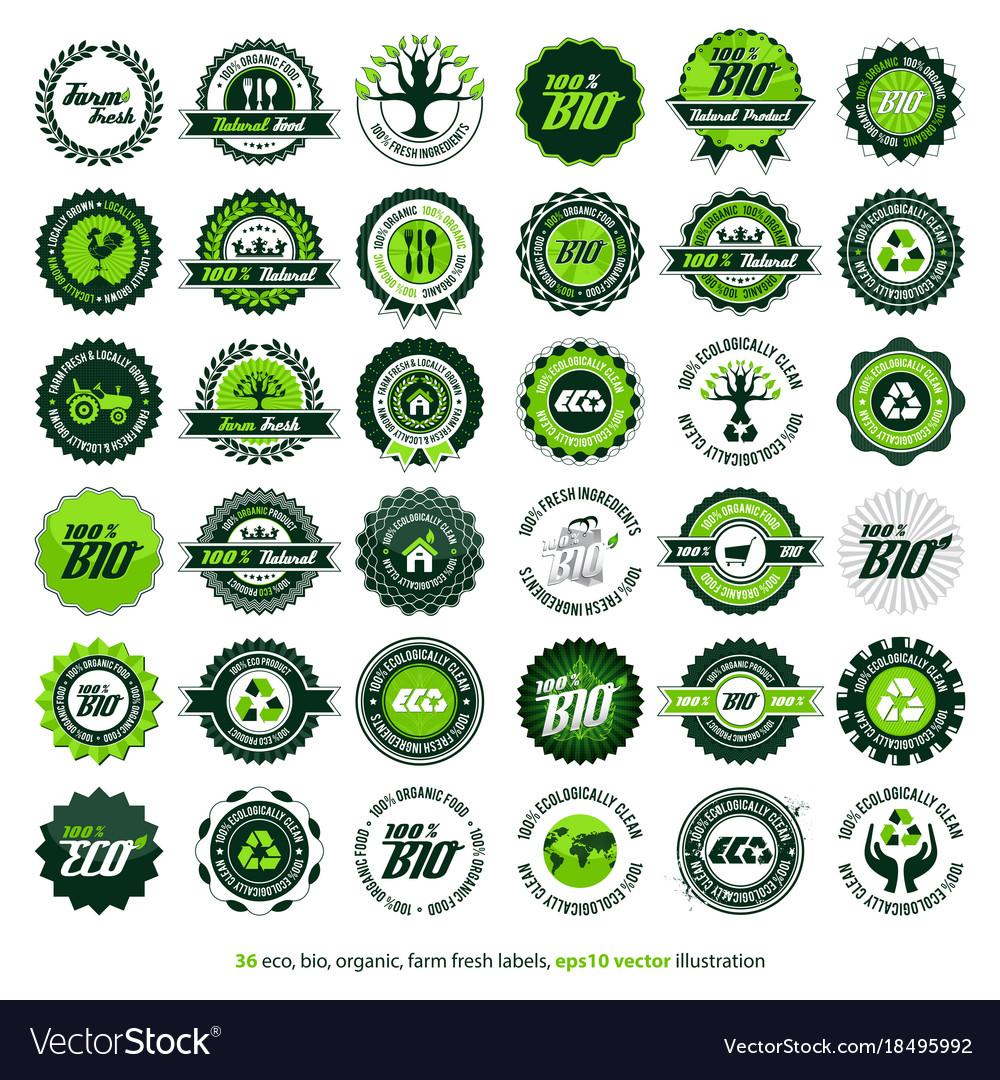 36 eco bio organic farm fresh labels