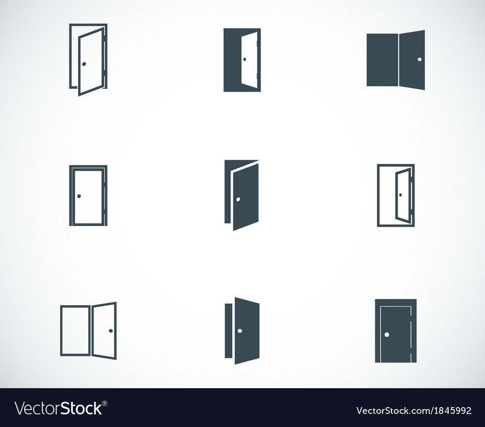 Black door icons set vector image