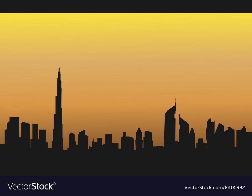 Dubai at the sunrise of silhouette