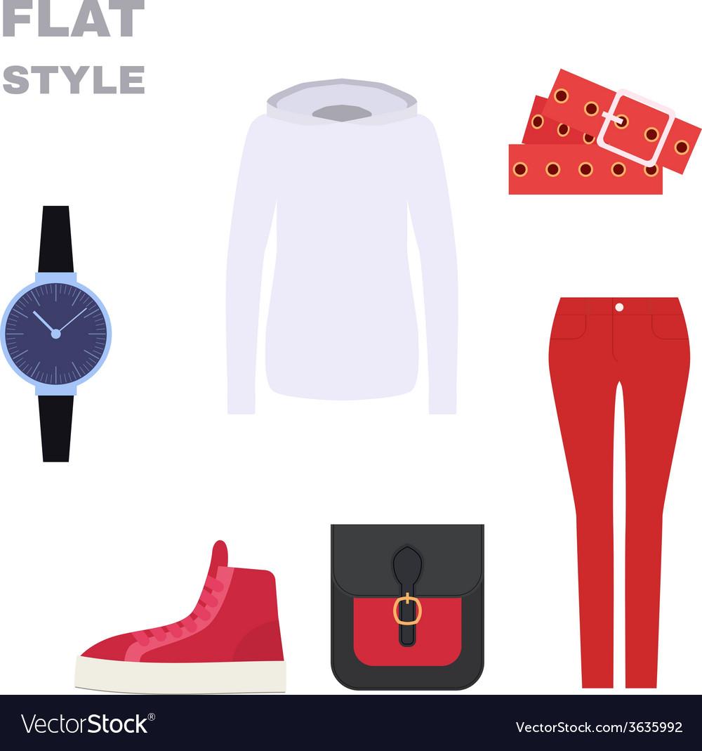 Flat Style Womans Look Fashion wear