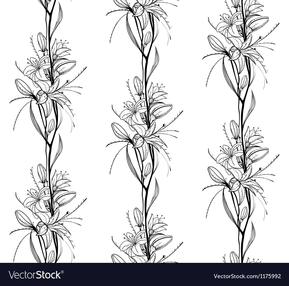 Lily Flowers Outline Seamless Pattern Royalty Free Vector
