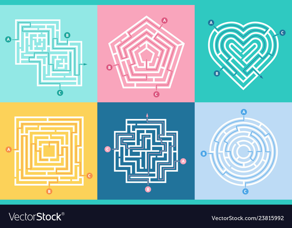 Maze entrance find right way kids labyrinth game
