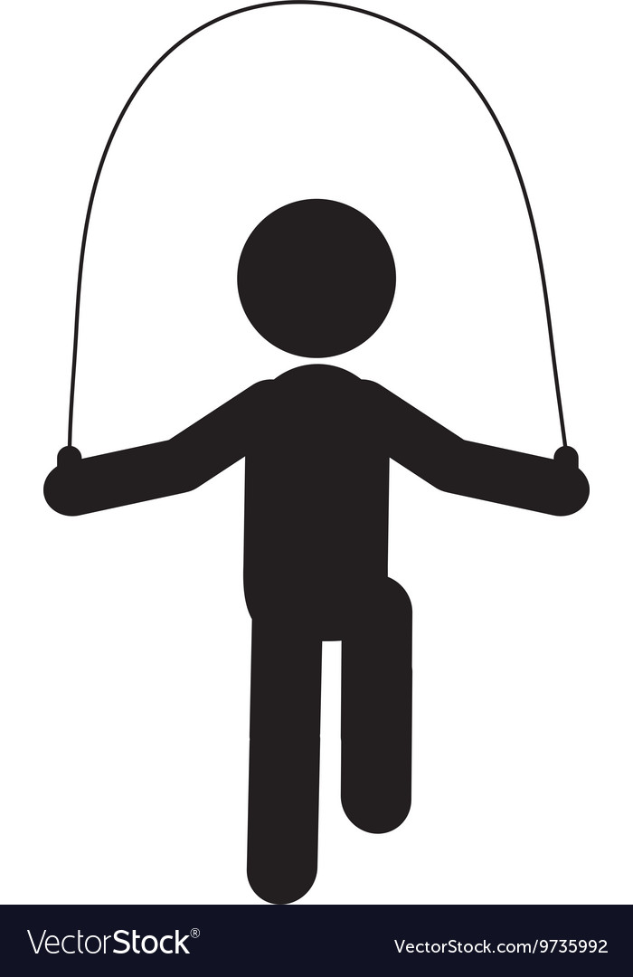 Person jumping rope pictogram icon