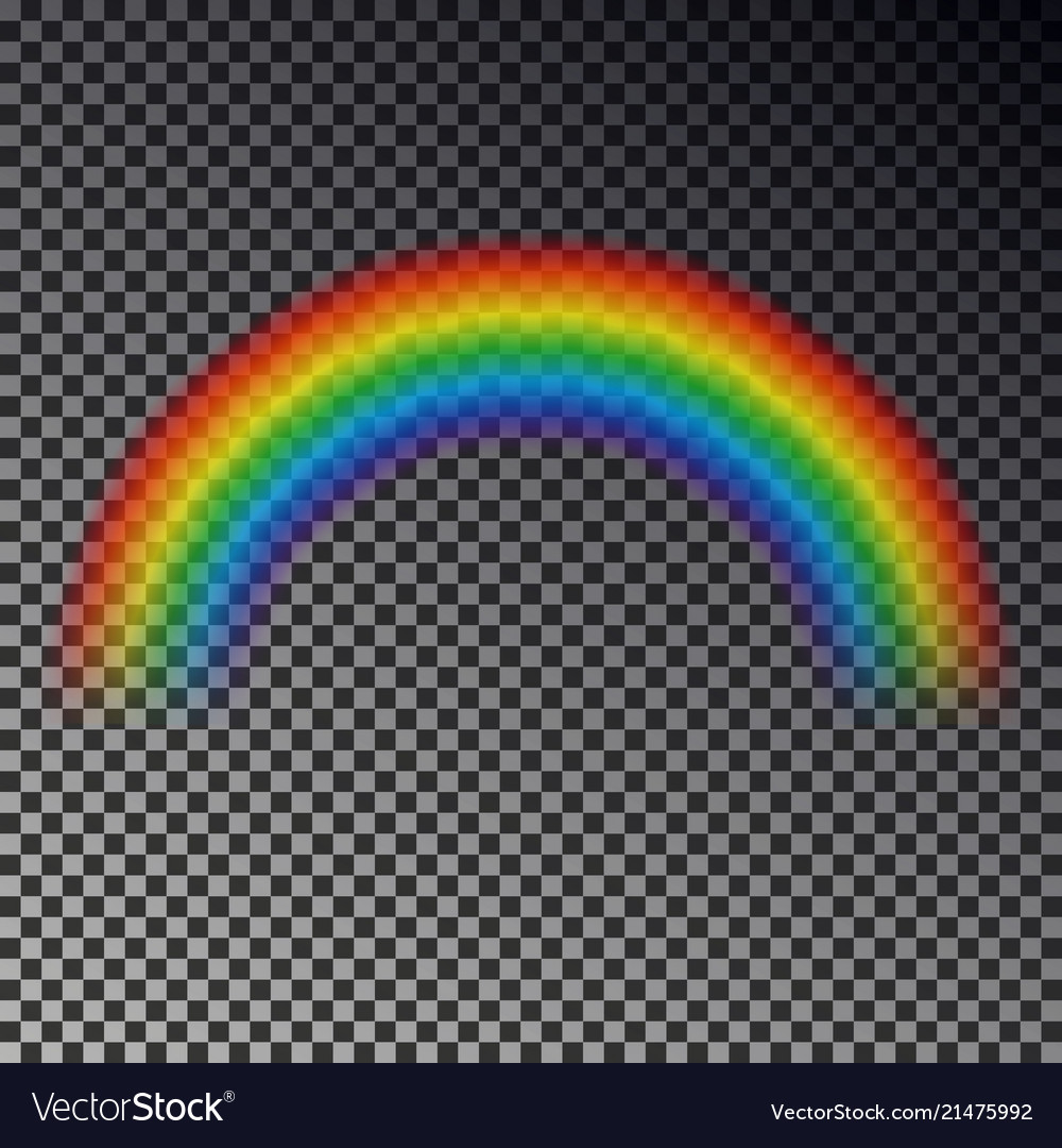 Rainbow arc isolated on checkered background tran