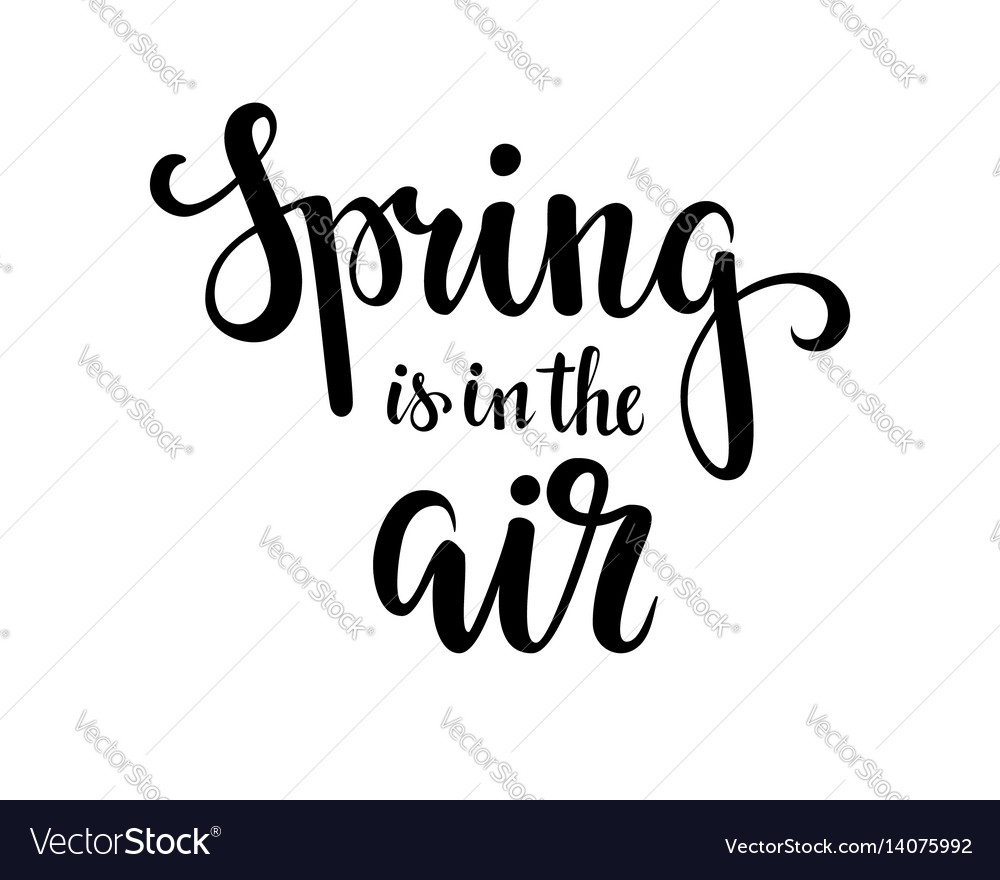 Spring is in the air hand drawn calligraphy and