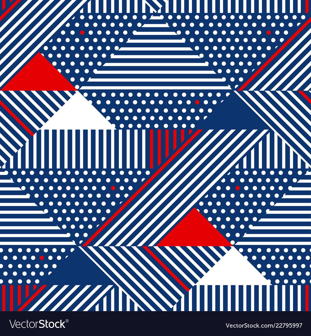 Blue and white stripes geometric seamless pattern