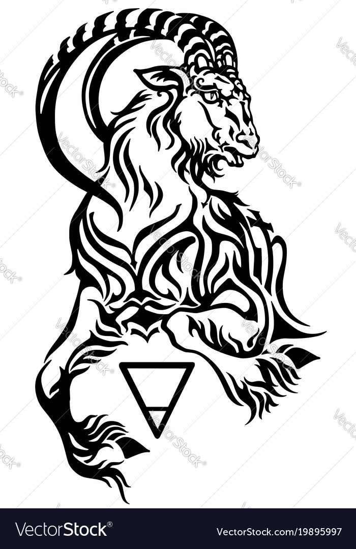 Capricorn earth sign tattoo vector image