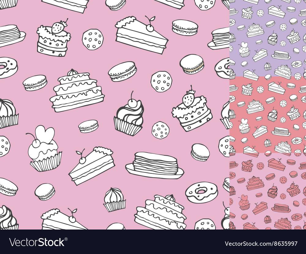 Doodle bakeryCakes seamless patternVintage