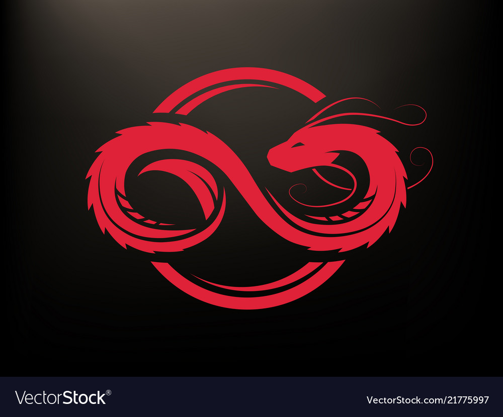 Dragon in form infinity circle logo vector