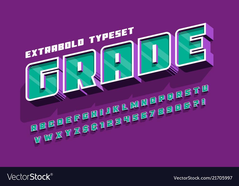 Extrabold 3d display font design alphabet