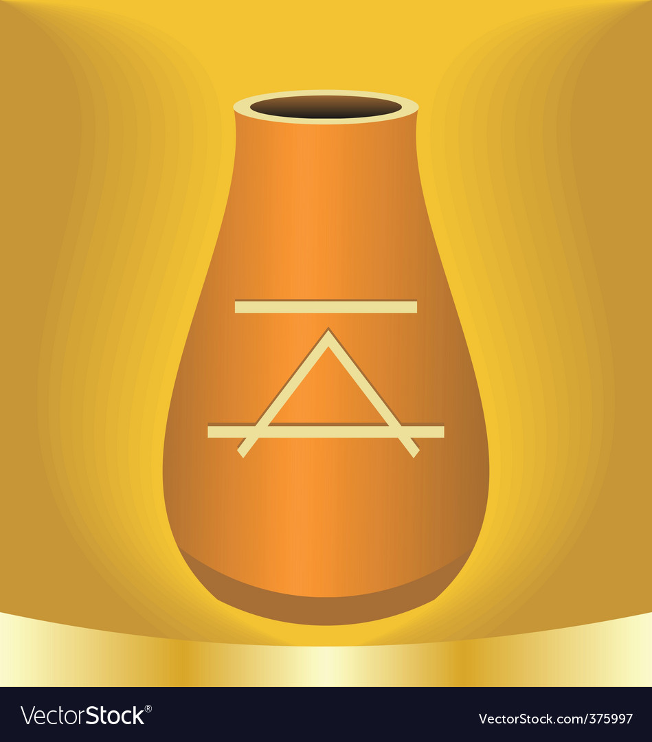 Illustration ancient jug with symbol