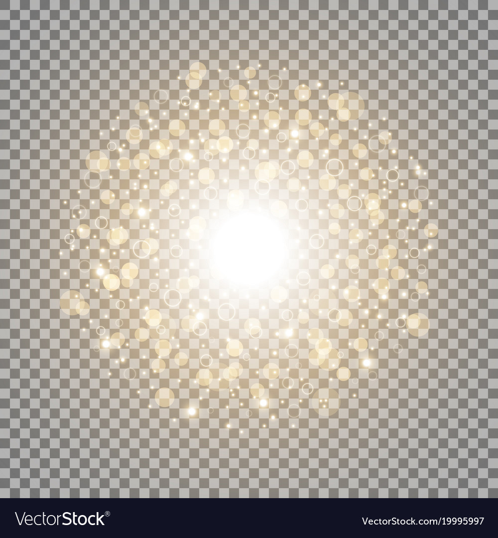 Light circle with dots and sparks golden color