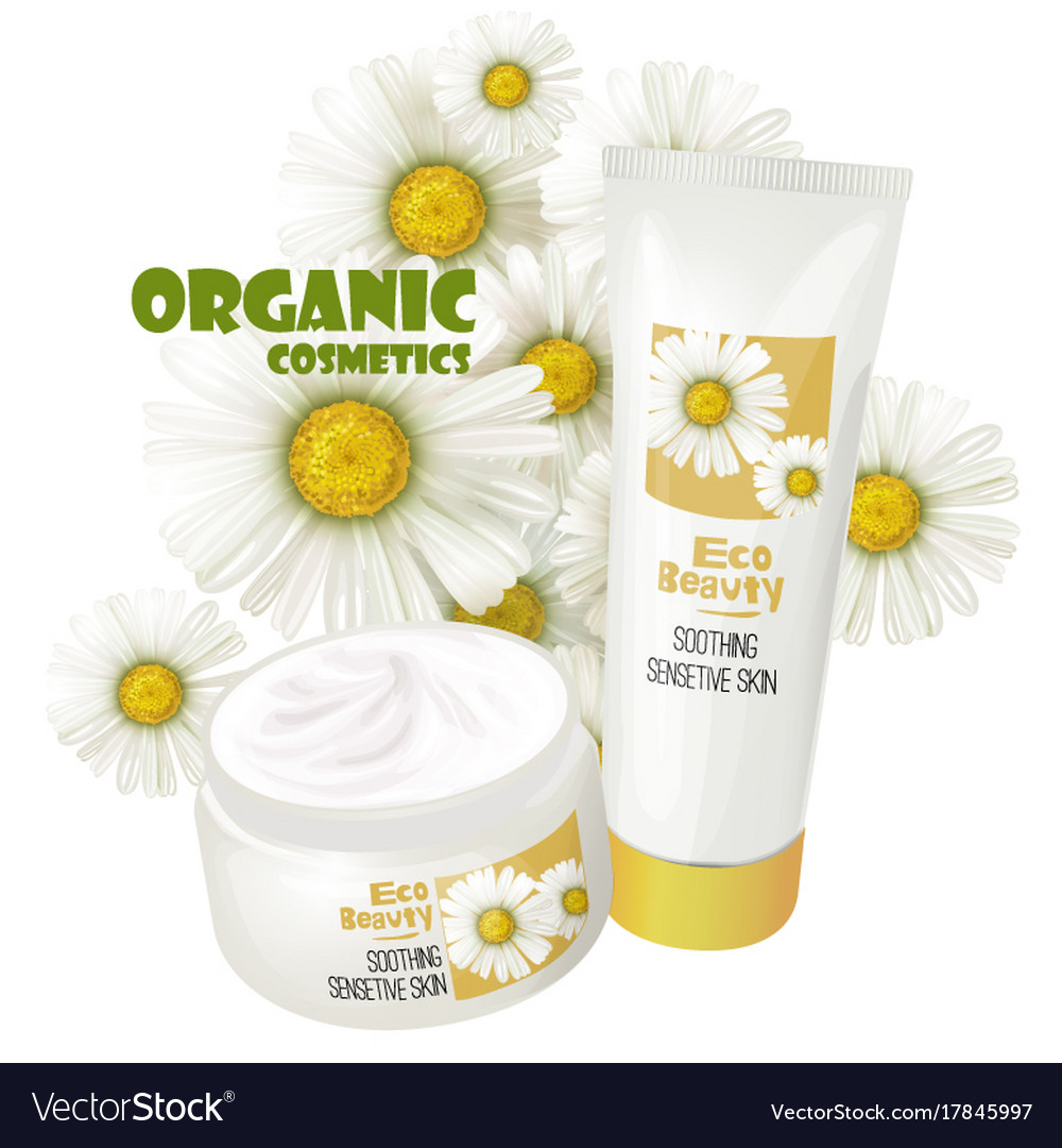 Organic cosmetics product with chamomile vector image