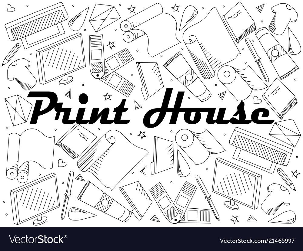 Print house coloring book line art design