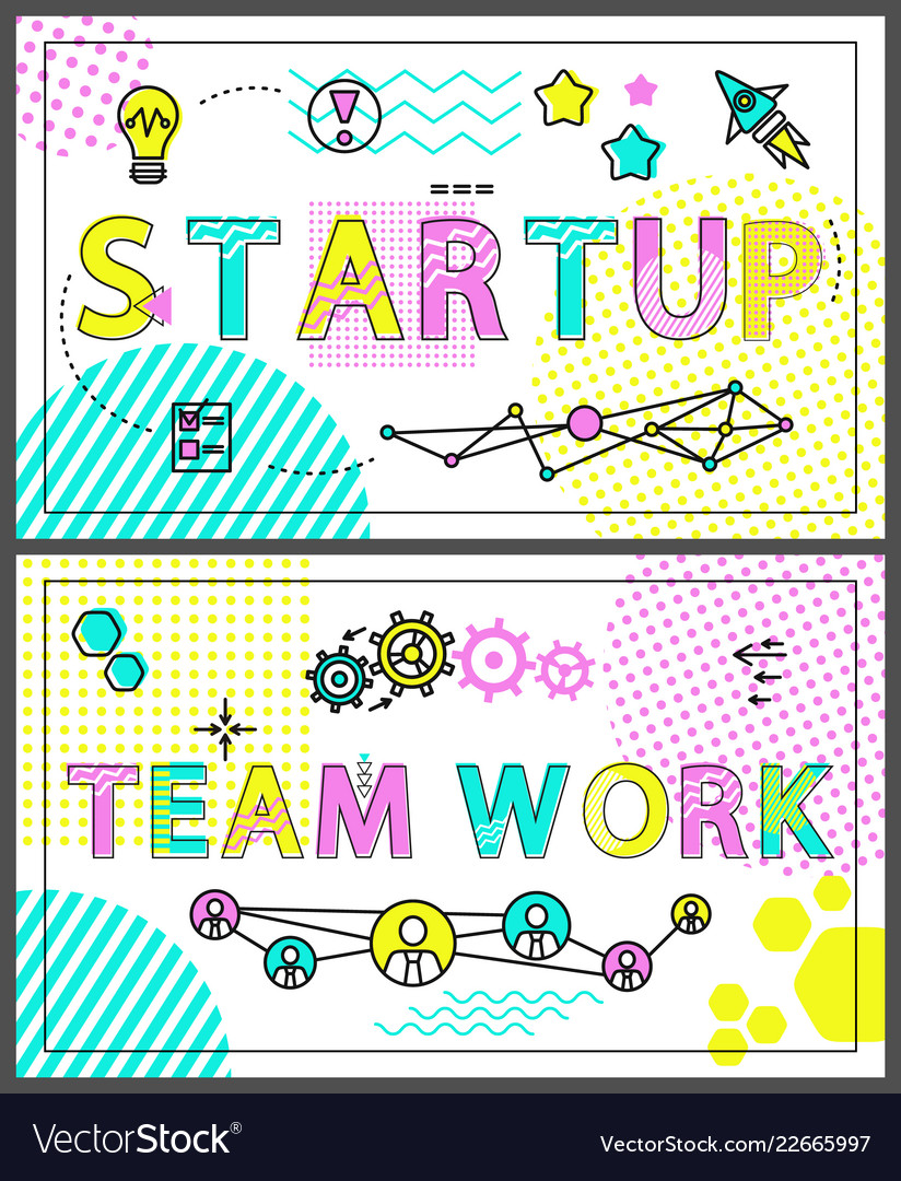 Start up and team work banners with linear icons