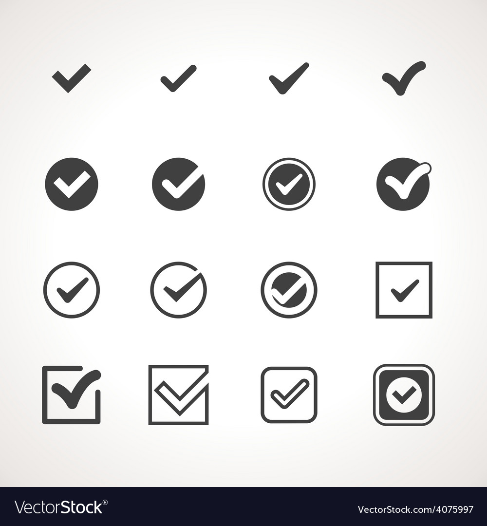 Tick Check Mark Icon Set vector image