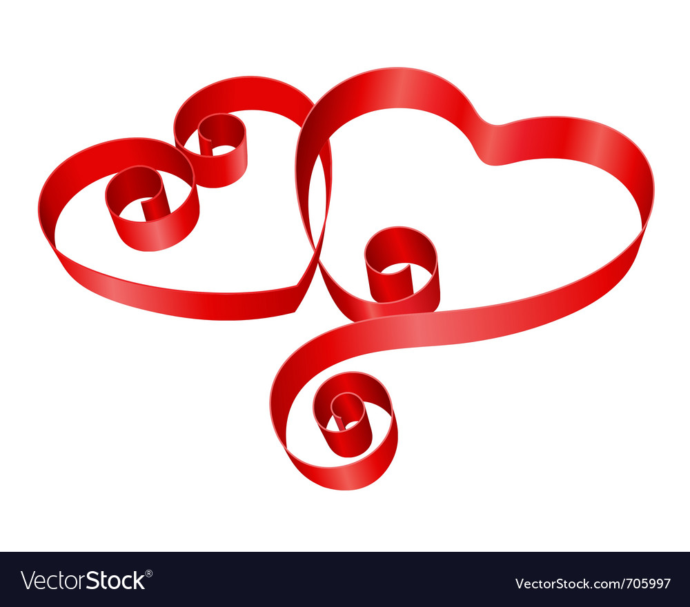 Two red hearts from ribbon