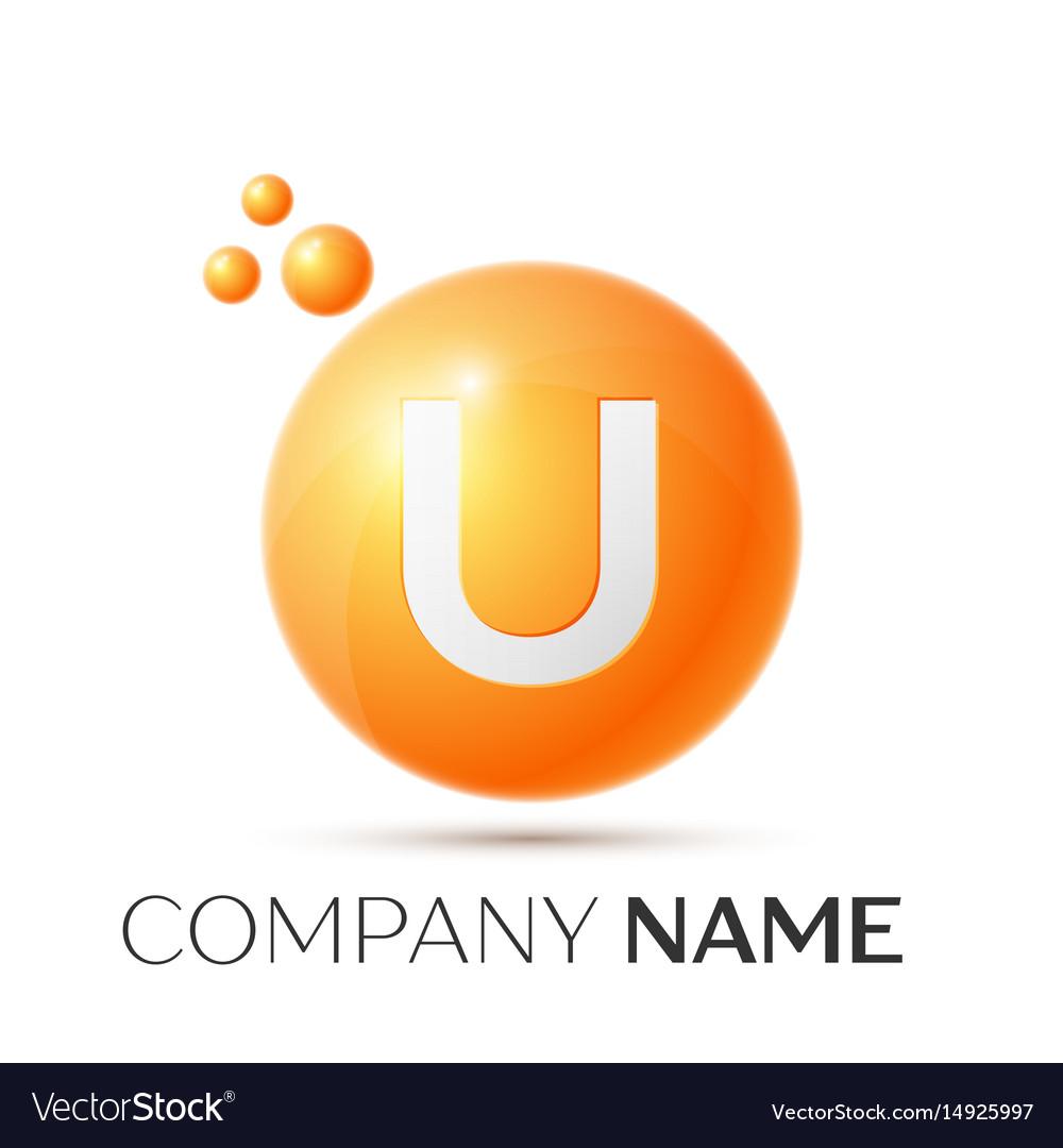 U letter splash orange dots and circle bubble vector image