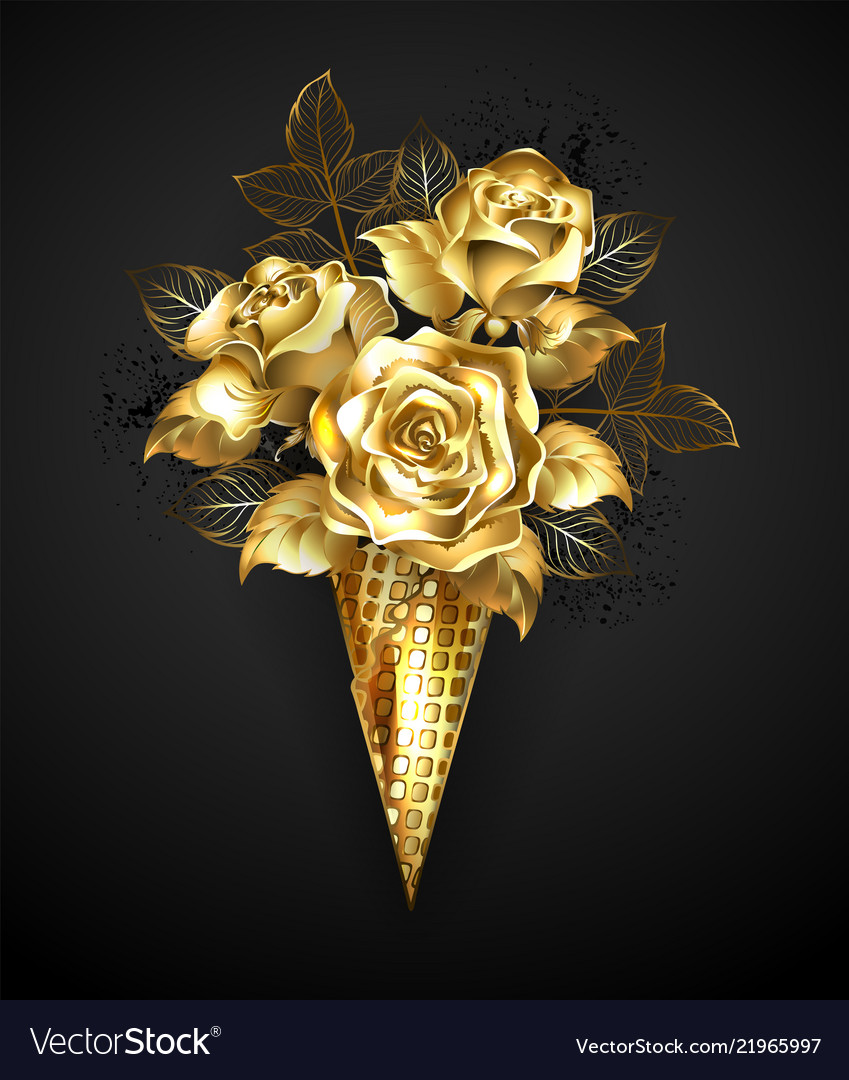 Waffle horn with gold roses