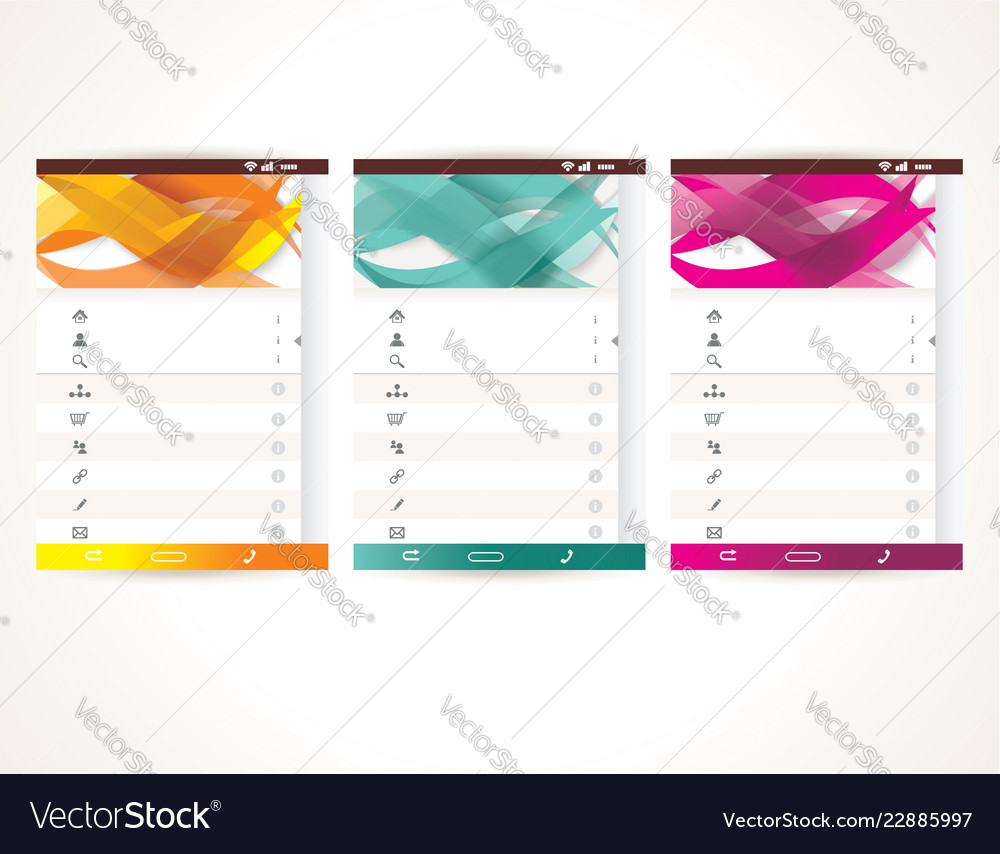 Web user interface elements menu mobile apps