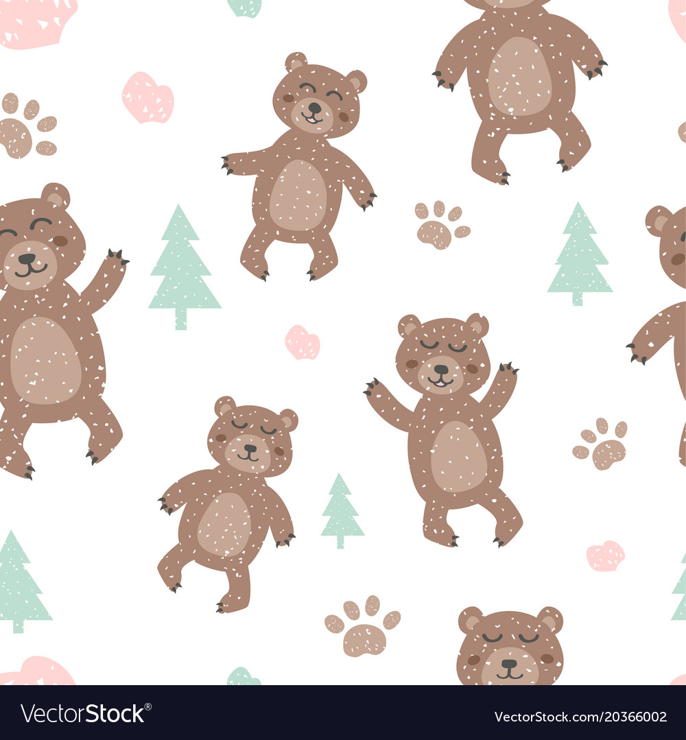 Childish seamless pattern with cute bear creative