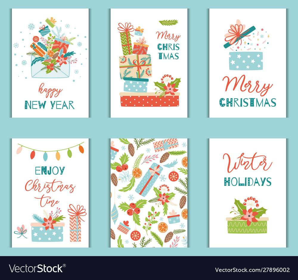 Christmas greeting card set with gift presents box