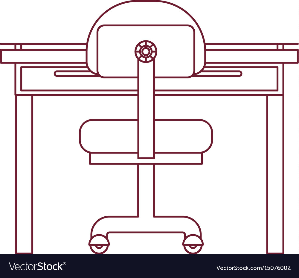 Dark red line contour of closeup work place office vector image