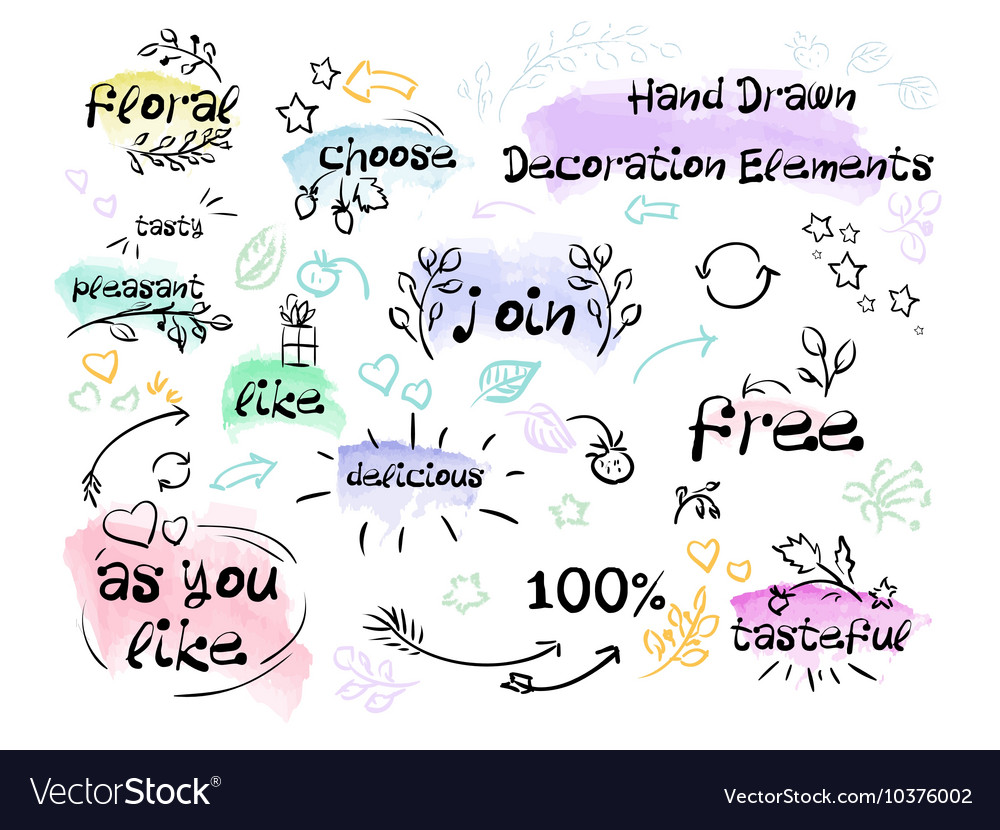 Decorative elements are drawn by hand with brush vector image