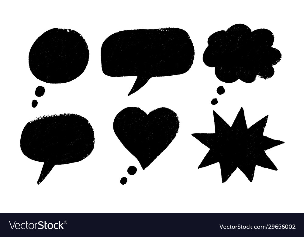 Grunge hand drawn speech bubbles