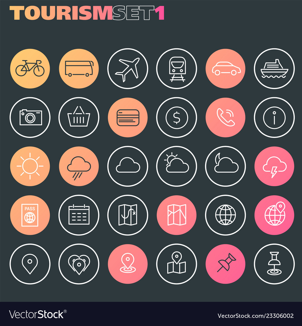 Inline tourism icons collection trendy linear