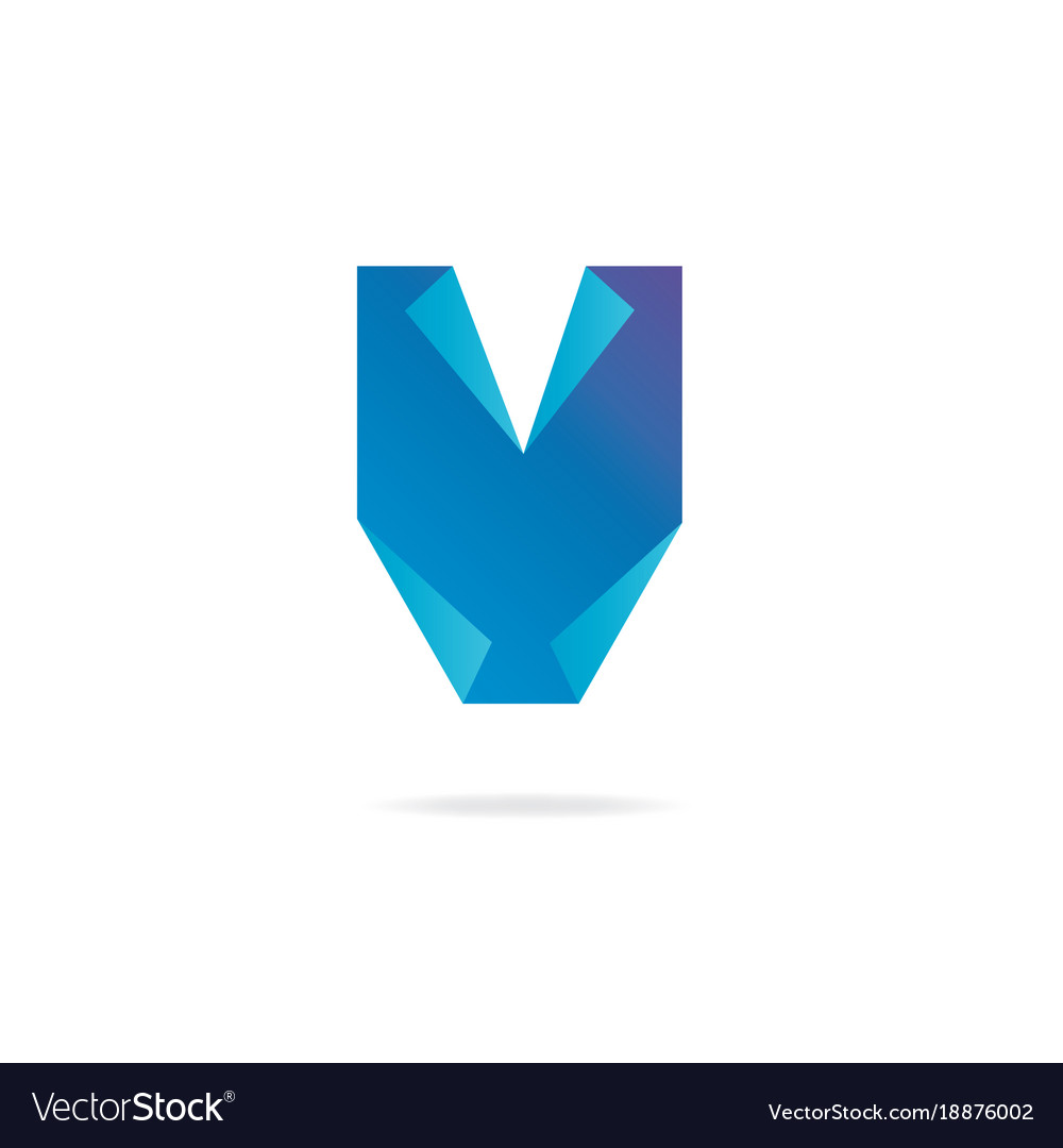 Letter v logo design template elements paper vector image