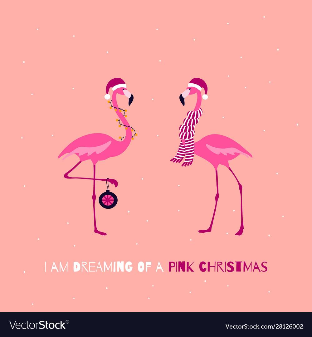 Pink christmas greeting card cute christmas