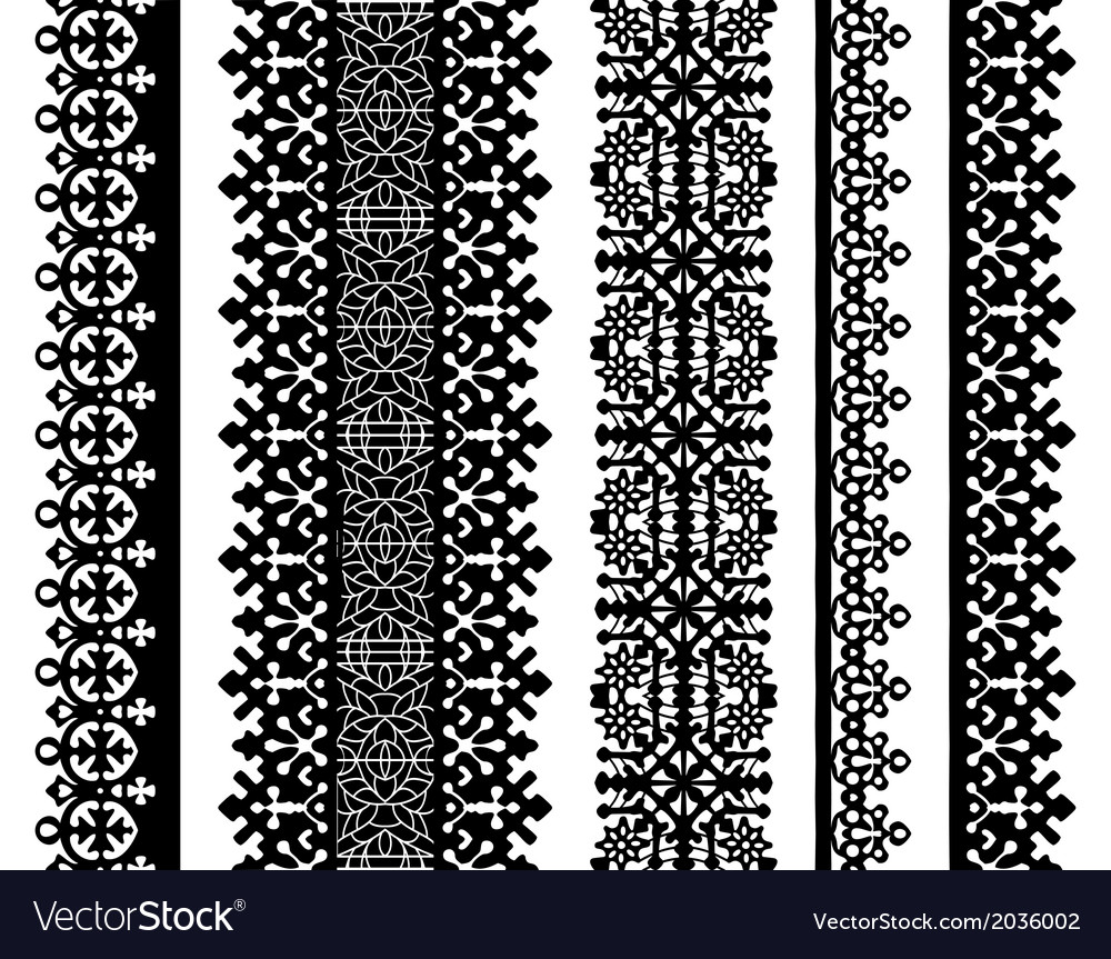 Set of black lace borders isolated on white