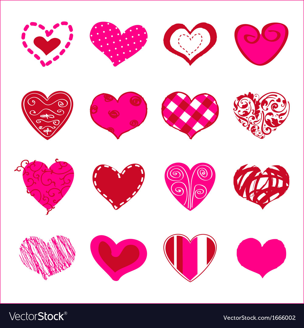Set of hand drawn hearts for You
