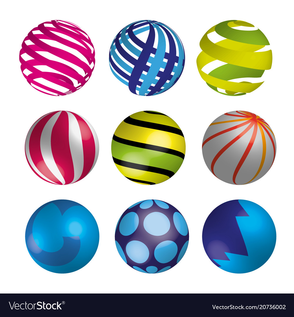 Set of realistic shiny colorful balls