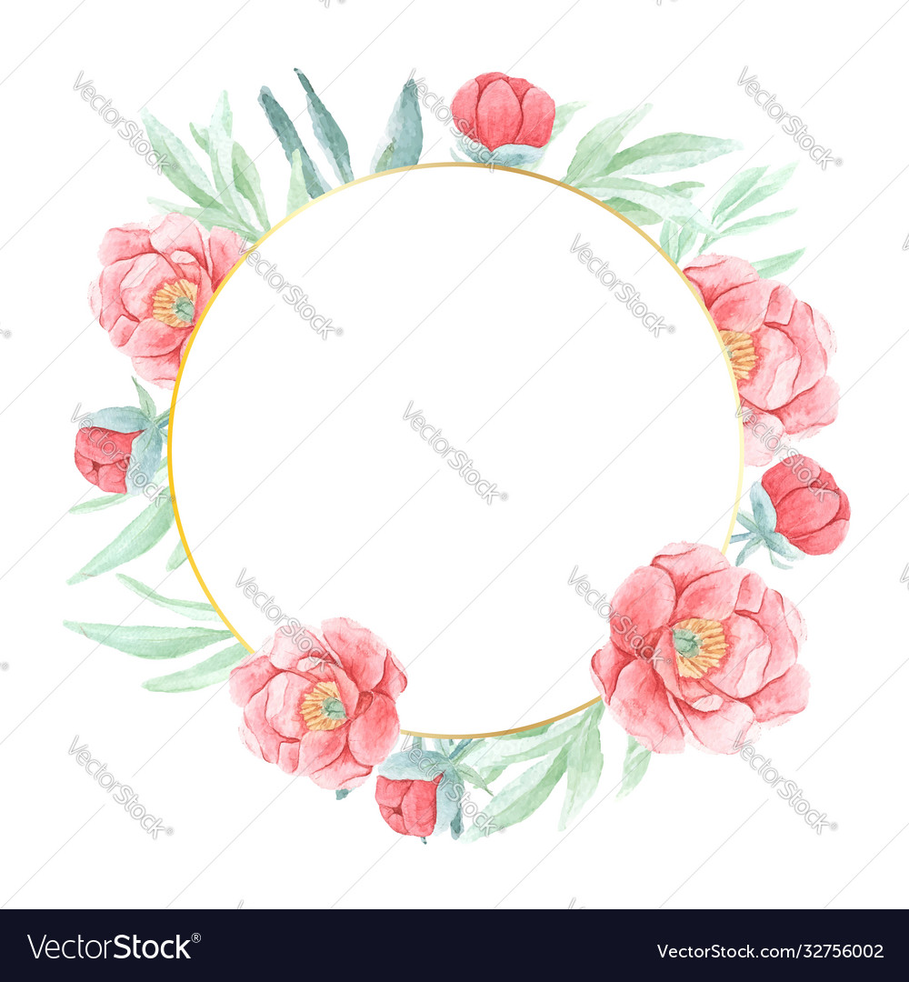 Watercolor red peony with round golden wreath