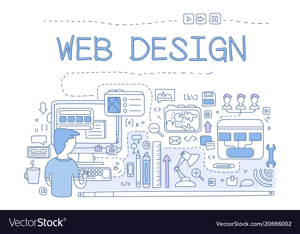 Web design internet development concept hand vector image