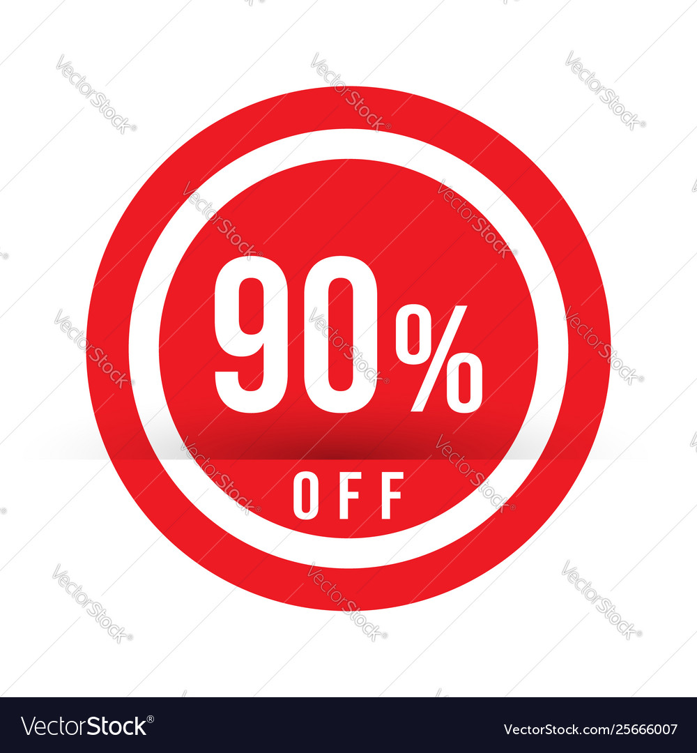 90 percent off - red sale stamp - special offer